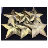 6 Gold Painted Wooden Stars