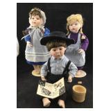 3 Porcelain Amish Children Dolls