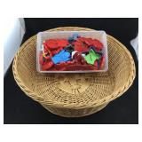 Wicker Basket and Tote with Plastic Cookie Cutters