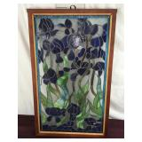 Tiffany Style Stained Glass Panel, Iris