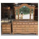Contemporary Oak Mirrored Dresser And Nightstand