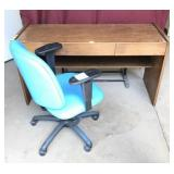Vintage Oak Three Drawer Office Desk With Chair