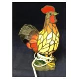 Tiffany style Rooster Stained Slag Glass Lamp