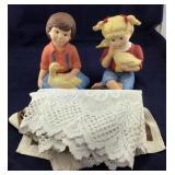 Ceramic Children With Ducks Plus 2 Place Mats,