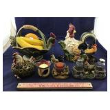 Variety Of Roosters That Includes Center Piece,
