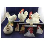 Two Ceramic Rooster Statues, Rooster Casserole
