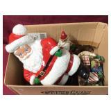Box With Vintage Christmas Items- Santas And