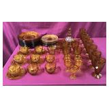 About 50 Pieces Vintage Amber Glass Dinner Ware
