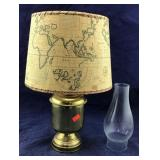 Brass Oil Lamp With Attached Shade
