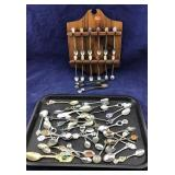 Large Collection of Souvenir Spoons & Rack