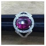 Sterling Ring With Raspberry/Clear Colored Stones