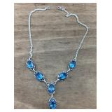 Sterling Silver Necklace With 6 Large Blue Stones