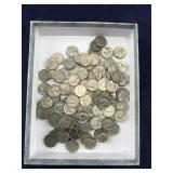About 100 Jefferson Nickels With Assorted Dates