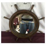 Ships Wheel Mirror, Walnut