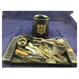 Cowhide Lined Mug, And Tray With Flatware And