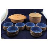 Baking Pottery Bowl With Lid And 6 Matching