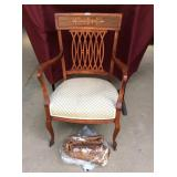 Antique Victorian Mahogany Upholstered Armchair