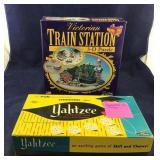 NIB 3-D Train Station Puzzle And Yahtzee,