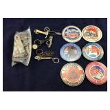 Six Lionel Buttons, Key Chains, And Old Bottle