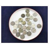 About 25 Jefferson Silver War Nickels 1942-1945