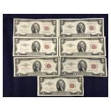 Seven 1953 $2 Bills