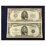 Two $5 Bills- Series 1934 Federal Reserve Note