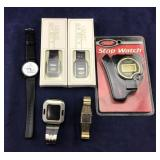 Five Watches And NIB Stop Watch