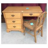 Vintage Maple Desk And Chair