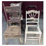 Assorted Vintage Chairs And Highchair
