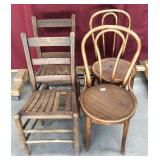 Two Pairs of Vintage Oak Chairs