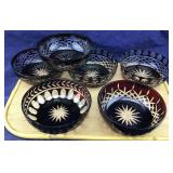 6 Ruby Cut to Clear Bowls + Vntg Beverage Set