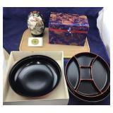 Satsuma Egg in Silk Box & New Lacquer Ware Set