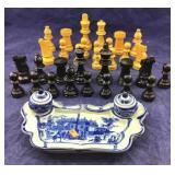 Complete Chess Pieces + Flo-Blue Type Inkwell