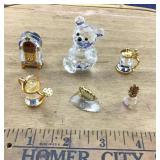 Swarovski Bear (3 Legs) + Tiny Crystal/Brass Items