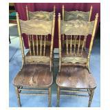 Set Vintage Oak Chairs, Carved Wood
