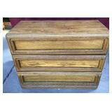 Oak Finish Three Drawer Dresser