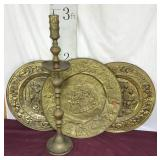 Three Large Brass Wall Hangings, Candleholder