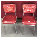 Pair of Vintage Chrome Red Vinyl Chairs