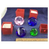4 Large Colored Glass Diamond Paper Weights