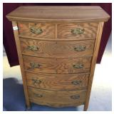 Antique Oak Chest Of Drawers Two Over Four