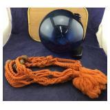 Lg Blue Artisan Glass Ball With Macrame Hanger