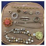 Vintage Sparkly Pins & Necklaces & Bracelet