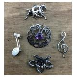 Sterling/Amethyst & Horse/Musical Notes/Rose Pins
