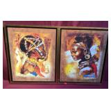 Two Pieces Of Framed African Artwork Signed By