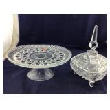 Footed Covered Candy Dish And A Cake Stand