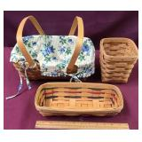 Three Longaberger Baskets, One With Handle And