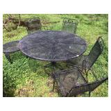 Wrought Iron Patio Set, Chairs and Two Tables