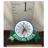 Rolling Rock Beer Neon Sign/Clock
