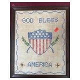 Vintage Needlepoint, God Bless America
