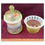 Vintage Opalescent Jar and Bowl